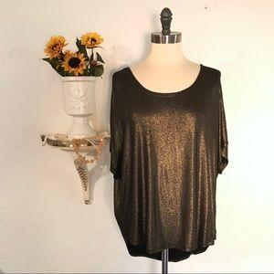 Juicy Couture Black & Gold Metallic Blouse 1086